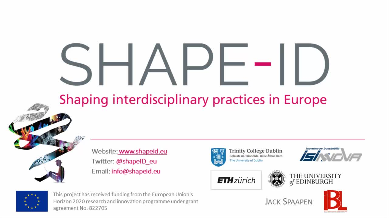 SHAPE-ID Shapping Interdisciplinary Practices in Europe