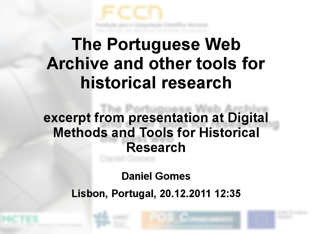 The Portuguese Web Archive and other tools for historical research