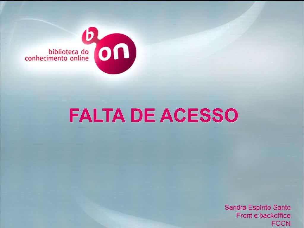 Biblioteca do Conhecimento Online - Falta de acesso