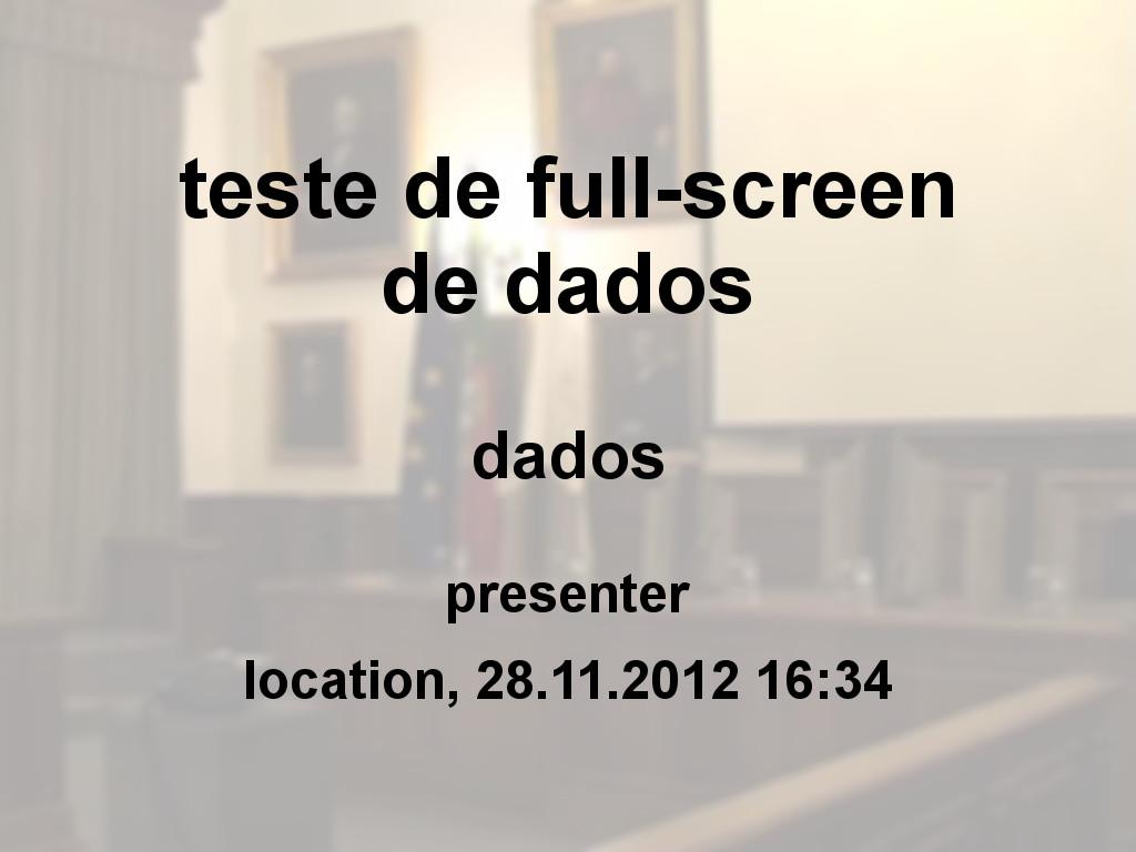 teste de full-screen de dados