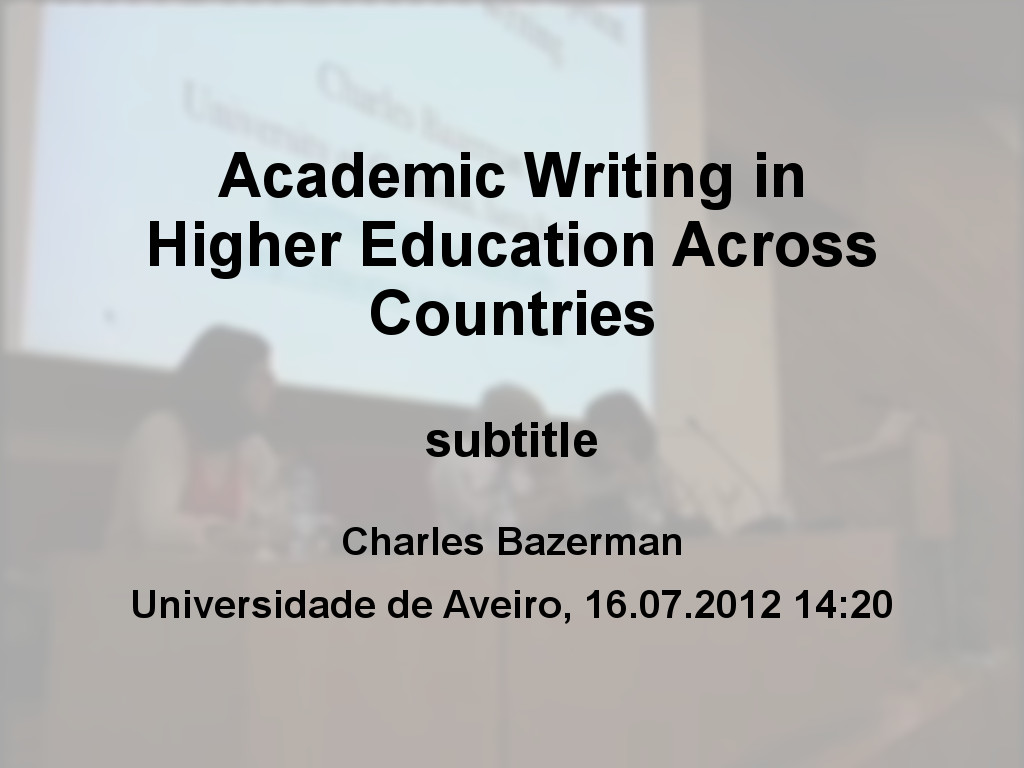 Academic Writing in Higher Education Across Countries