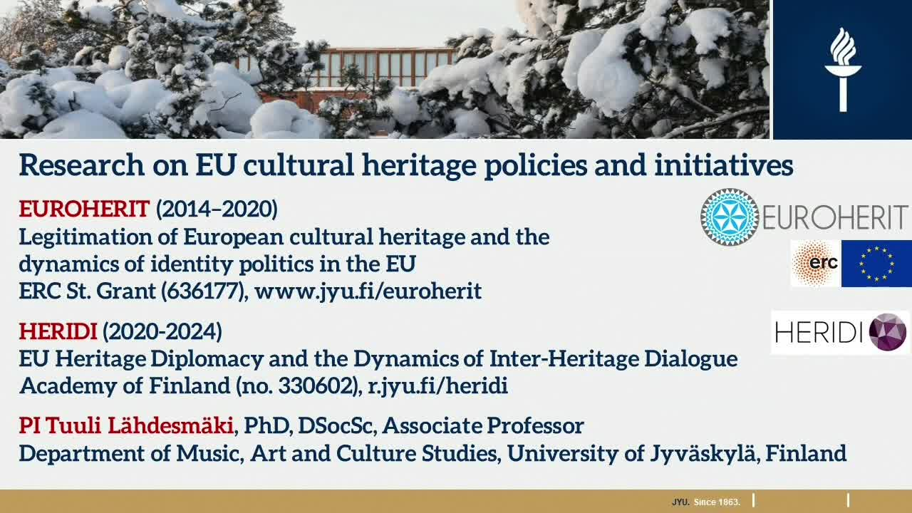The EU's Cultural heritage policies and initiatives