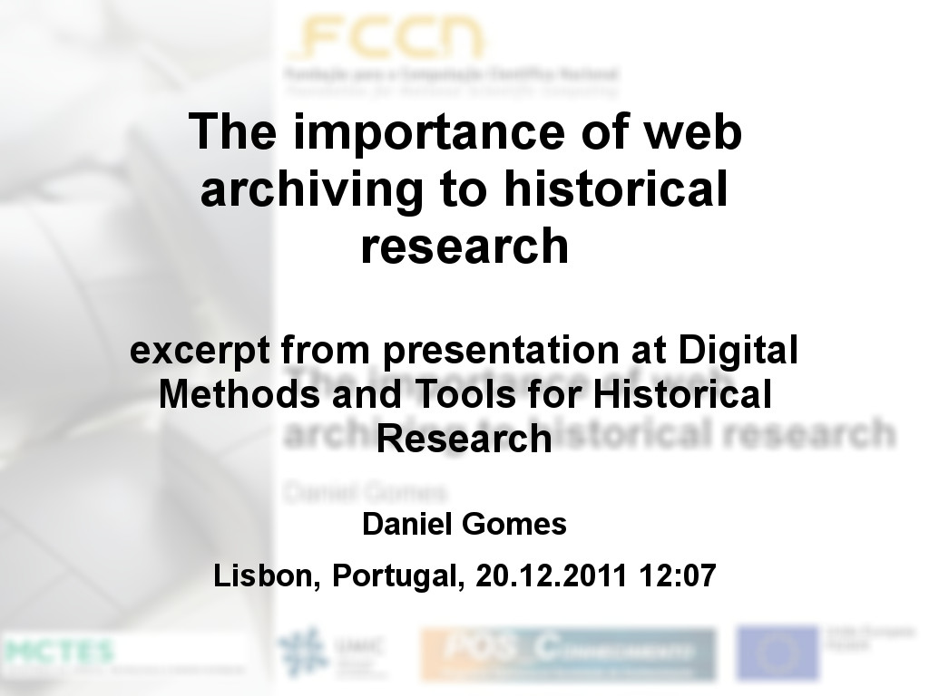 The importance of web archiving to historical research