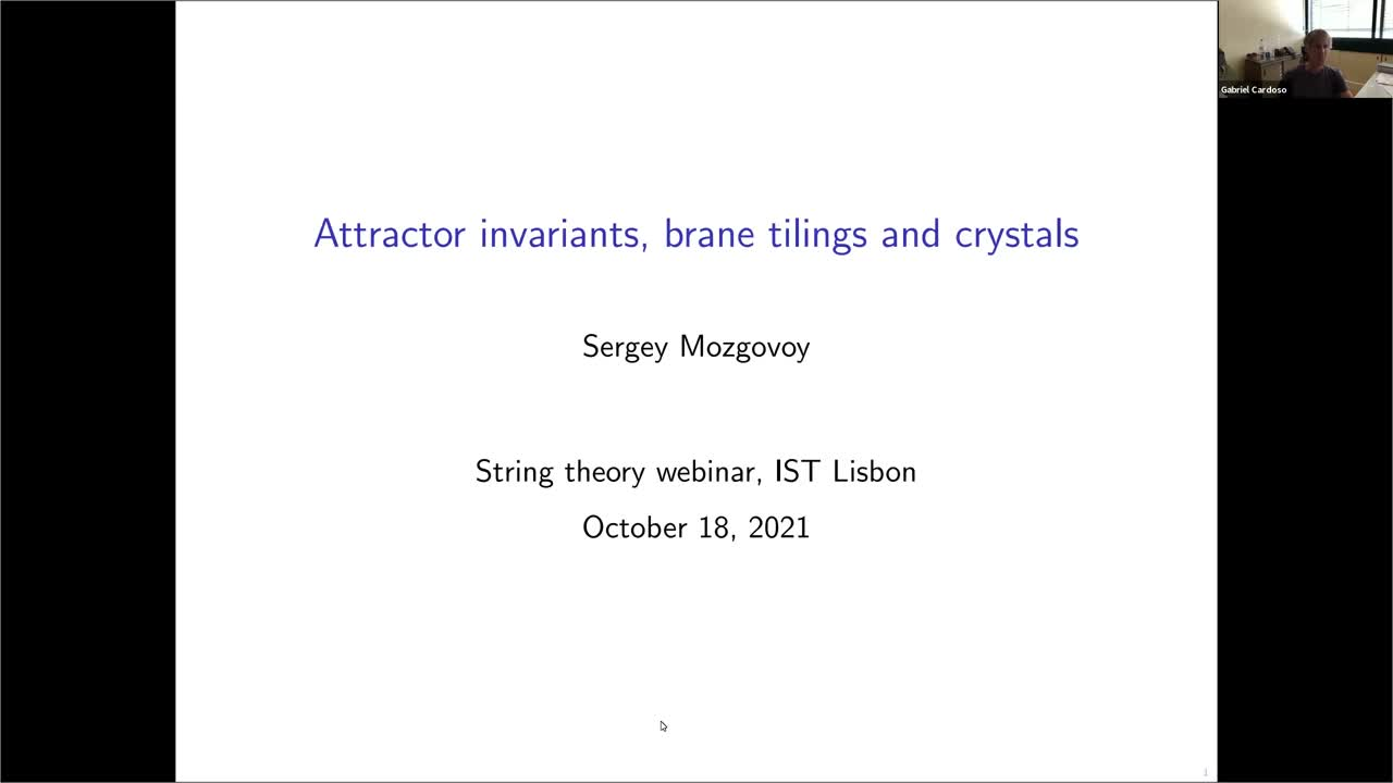 18.10.2021: Attractor invariants, brane tilings and crystals