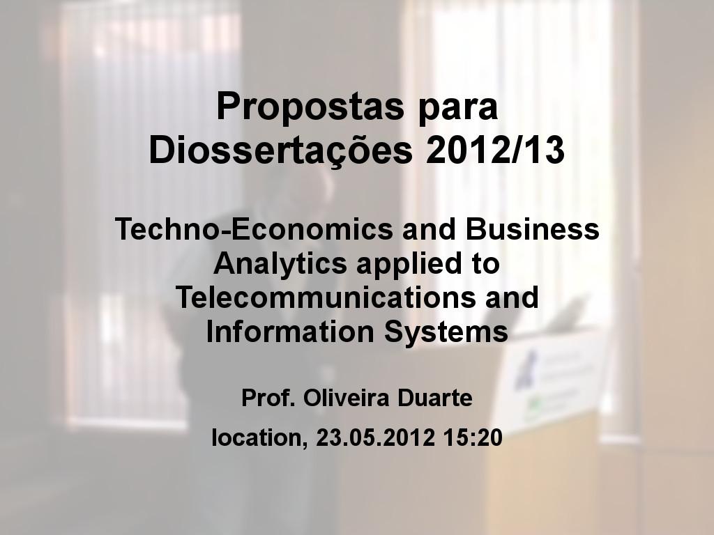 Propostas para Dissertações 2012/13